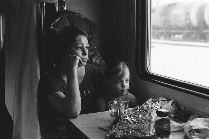 Trans-Siberian train from Moscow to Krasnoyarsk in Russia II / From the series Motherland. Far Beyond the Polar Circle, 2019, 35mm black and white film