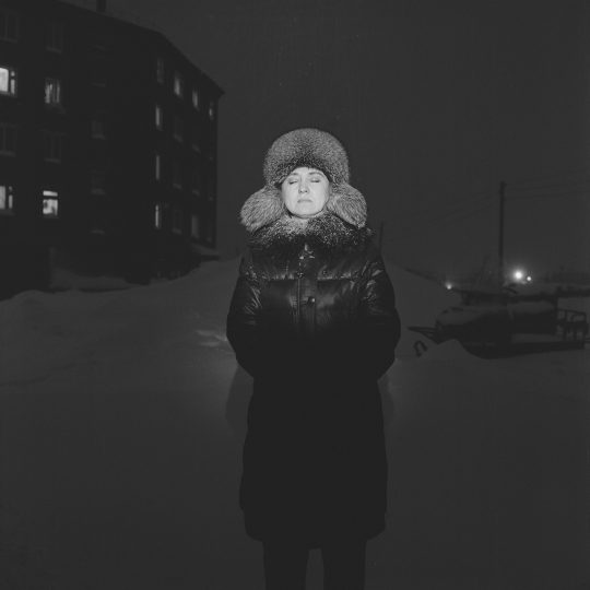Irina Shinova in Igarka, Russia / From the series Motherland. Far Beyond the Polar Circle, 2020, Medium format black and white film